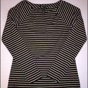 Women's Ralph Lauren Black and Gold Striped Shirt